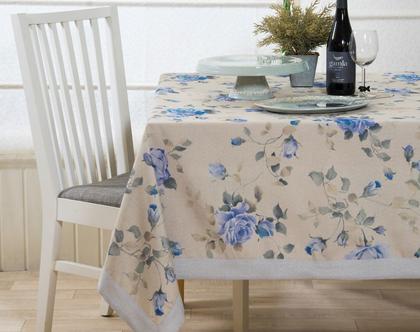 """מפת שולחן - דגם """"ארוג מודפס"""" כחול"""