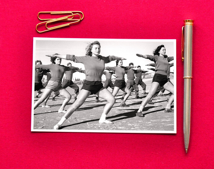 """גלויה: התעמלות בוקר בגדנ""""ע, בנימינה, 1949"""