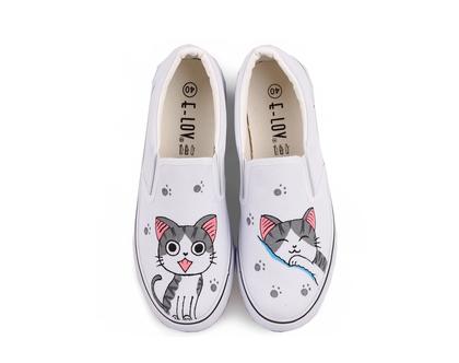 סניקרס לנשים חתול , נעלי בנות, סניקרס לנערות, נעליים לאימהות, דגם חתול (מידה 35 מתאים למידות 33-34 ישראליות) [CLONE]