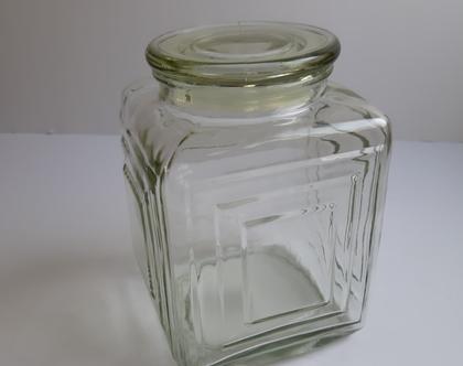 צנצנת זכוכית מרובעת:צנצנת זכוכית וינטאג:צנצנת לחמוצים:כלי מטבח וינטאג: