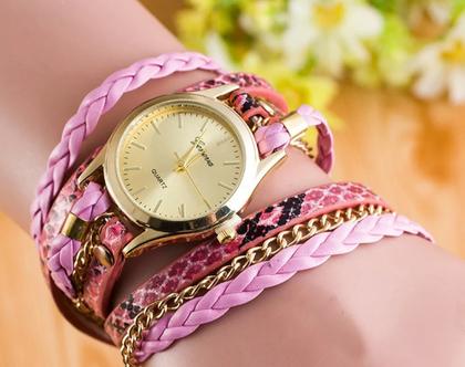 שעון מתלפף | שעון ורוד | שעון לאישה | שעונים לנשים | שעון רצועות עור