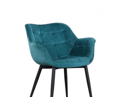 כיסא מעוצב דגם מילנו - קטיפה טורקיז