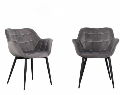 כיסא מעוצב דגם מילנו - קטיפה אפור