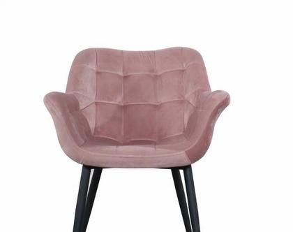 כיסא מעוצב דגם מילנו - קטיפה ורוד