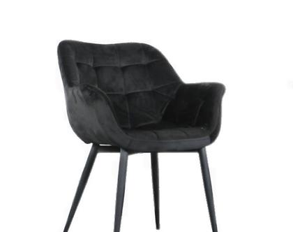 כיסא מעוצב דגם מילנו - קטיפה בשחור