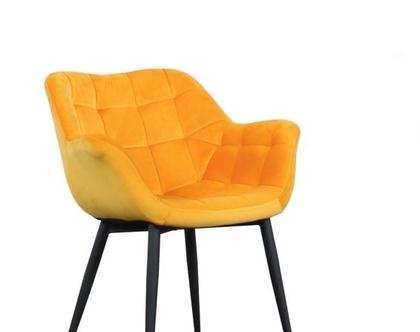 כיסא מעוצב דגם מילנו - קטיפה חרדל