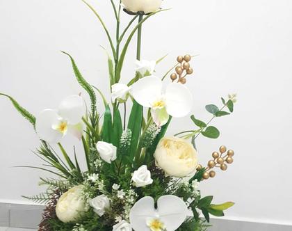 סידור פרחים מלאכותי פרחים לבנים וסחלבים