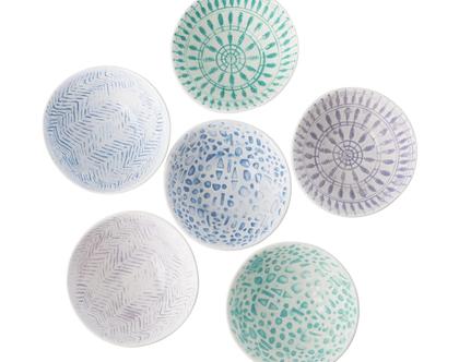 קערית קרמיקה עם עיטורים ב-6 צבעים כחולים וירוקים