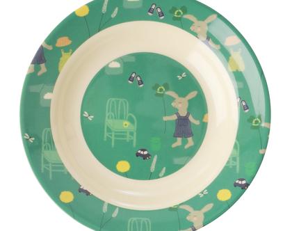 קערת מלמין לילדים בהדפס ארנב ירוק