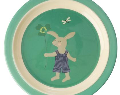 צלחת מלמין לילדים ארנב ירוק
