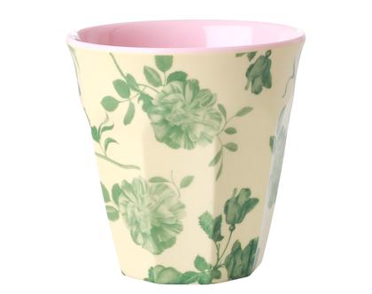 כוס מלמין טוטון בהדפס ורדים ירוקים רקע קרם