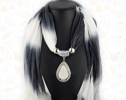 צעיף תכשיט מרשים שחור/לבן