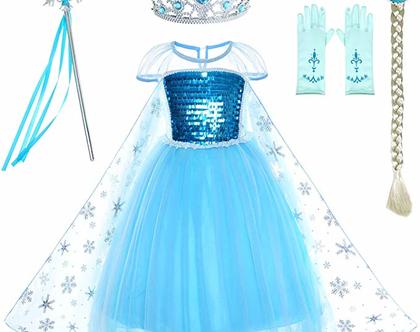 תחפושת  לפורים מהממת לילדות נסיכה לכל מטרה כולל אבזרים נלווים מגיל 2-11 שנים