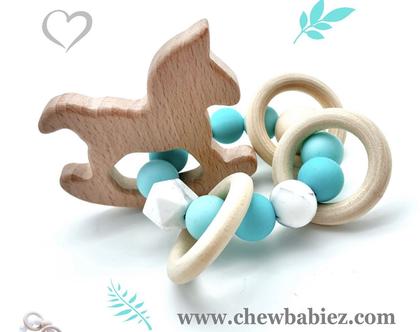 צעצועים מונטסורי / רעשן נשכן סיליקון ועץ / צעצועי עץ לתינוקות / אביזרים לתינוקות / מתנה לתינוק / Wooden montessori teething rattle