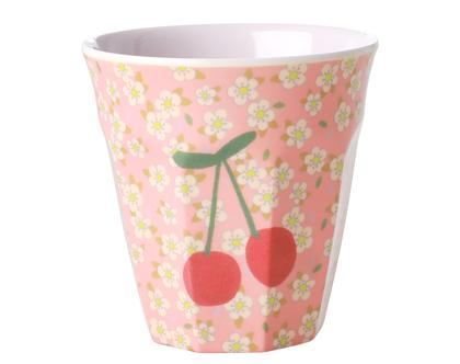 כוס מלמין טוטון בהדפס פרחים קטנים ודובדבן