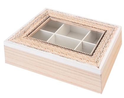 קופסה לתה מעוצבת מעץ | קופסת תה מעוצבת מעץ | קופסה לתה בדוגמא גאומטרית | קופסת איחסון לתיונים