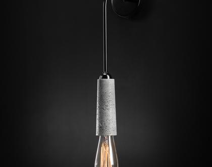 וואנו צמוד קיר מנורת בטון אפור מנורת קיר בעבודת יד עיצוב מודרני