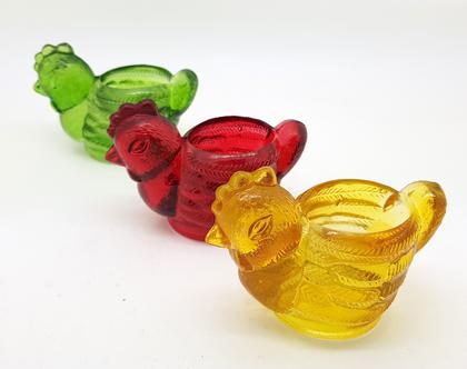 פמוטי תרנגול - 'סוכריות' זכוכית צבעוניות