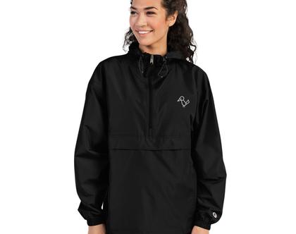 מעיל גשם שחור מקולקציית MULI X CHAMPION | מעיל רוח שחור | ג׳קט שחור