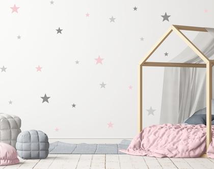 סט מדבקות כוכבים גדולים בשלושה צבעים וארבעה גדלים | מדבקות כוכבים | מדבקות קיר כוכבים | מדבקות לחדרי ילדים | מדבקות לחדרי תינוקות