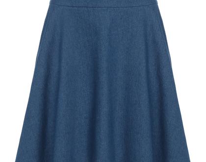 חצאית מידי בגזרה גבוהה מבד ג'ינס (אמה)