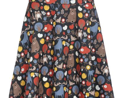 חצאית מידי שחורה עם הדפס צבעוני בגזרה גבוהה (אמה)