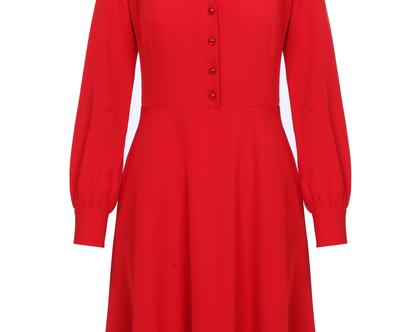 שמלה אדומה חגיגית עם כפתורים ושרוולים ארוכים (ג'יזל)