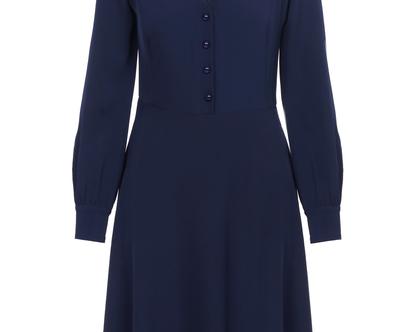 שמלה בצבע כחול כהה עם שרוולים ארוכים (ג'יזל)