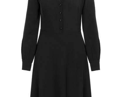 שמלה חגיגית שחורה עם שרוולים ארוכים (ג'יזל)
