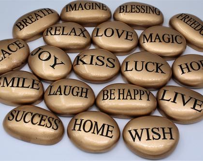 """סט 7 אבנים זהב אנגלית, אבנים אנגלית , אבני ברכה, ברכות אנגלית, זהב, שבע ברכות אנגלית, ברכה מיוחדת, מתנה לחו""""ל, אבנים עם ברכות"""