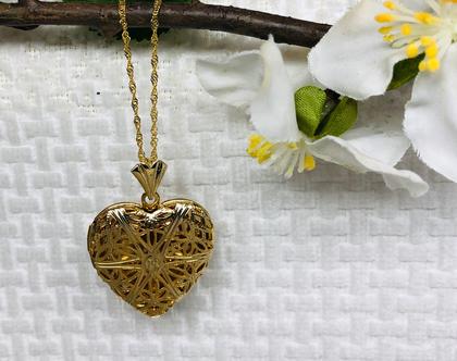שרשרת ותליון לב מעוטר | תליון לב מעוטר מגולדפילד | תכשיטי גולדפילד