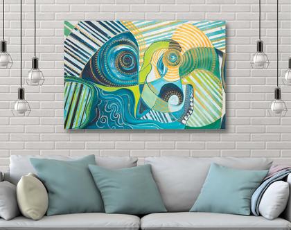 """ציורים יפים לסלון 70X100 ס""""מ ציורי אבסטרקט מודרניים"""