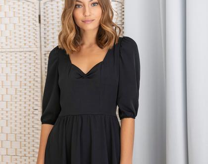 שמלת בלה שחורה - שמלת ערב קצרה עם שרוולים