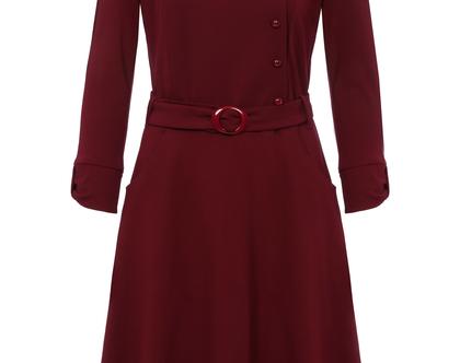 שמלה חורפית בצבע בורדו עם חגורה במותן (זואי)