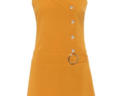 שמלה בצבע חרדל בגזרת .A ללא שרוולים (מרגי)