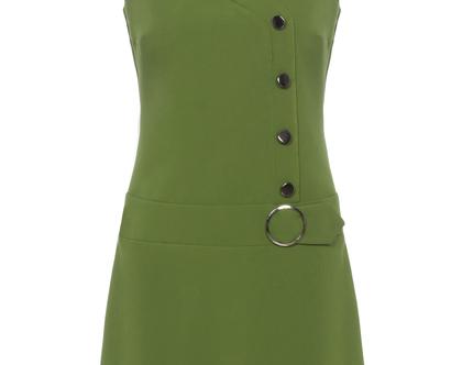 שמלה בצבע ירוק בגזרת A ללא שרוולים (מרגי)