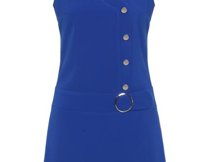 שמלת בצבע כחול רויאל בגזרת A ללא שרוולים (מרגי)