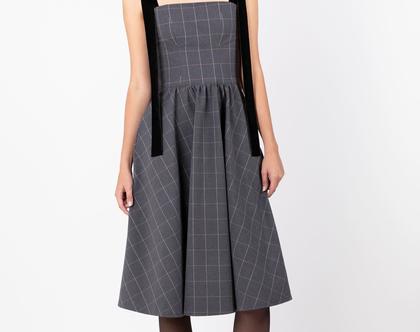שמלת קורליין אפורה משבצות - שמלת ערב כהה עם כתפיות קטיפה אוברסייז