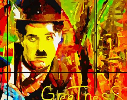 """צ'רלי צ'פלין """"Life is a comedy"""" יצירת אמנות בשיטת Mixmedia בגודל של 85x85ס""""מ"""