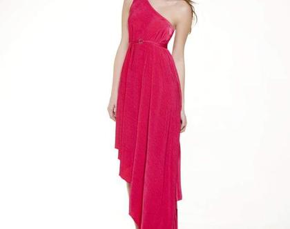 שמלה ערב ארוכה עם כתף חשופה באורך א סימטרי מיוחד בצבע ורוד פוקסיה