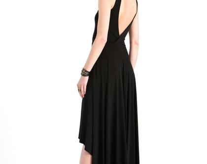 שמלת ערב שחורה עם גב פתוח