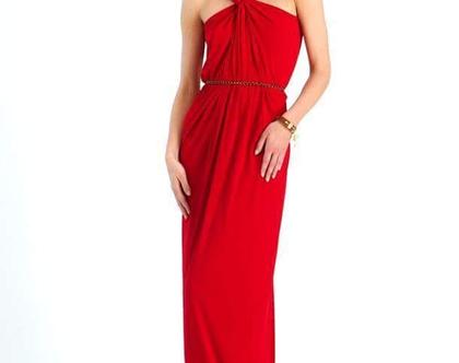 שמלה ערב ארוכה עם מחשוף הולטר מיוחד לצוואר