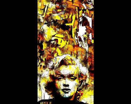 """מרלין מונרו , """"I-dol"""" יצירת אמנות בשיטת Mixmedia בגודל של 50x150ס""""מ"""