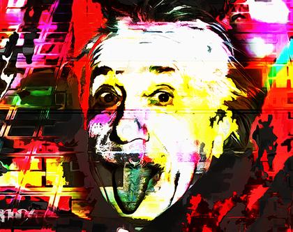 """אמנות - מדיה מעורבת מודפסת על פרספקס - אלברט איינשטיין: """"?what if god was one of us"""""""