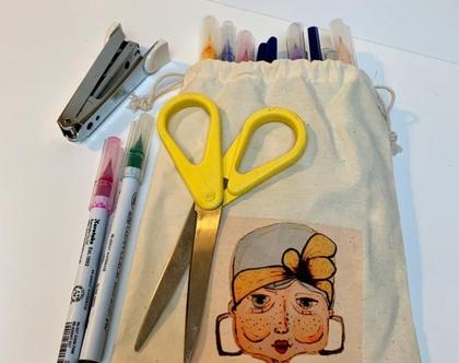 שקית בד עם שרוך - שקית בד מאויירת - שקית בד מודפסת - שקית כותנה לכל מטרה - שקית בד לכריך - מתנה קטנה