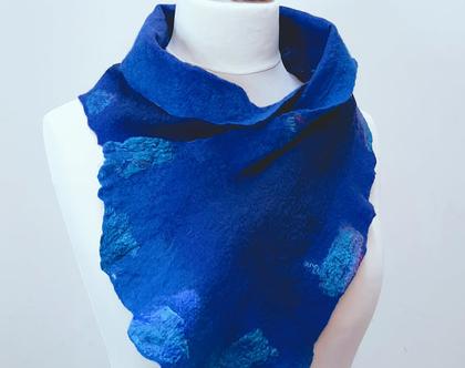 צעיף בצבע כחול | צעיף עבודת יד | צעיפ משי וצמר מרינו