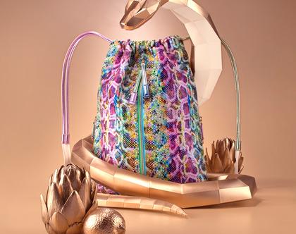 תיק גב צבעוני מקסים לנשים, תיק נוח מדמוי עור איכותי, תיק ללא עור, צמחוני, טבעוני בעבודת יד | תיקים - FruitenVeg