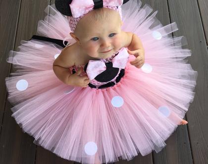 תחפושת מיני מאוס| תחפושת מיקי מאוס| תלבושת יום הולדת שנה| שמלת טול לתינוקת| תחפושת גיל שנה| טוטו לתינוקת