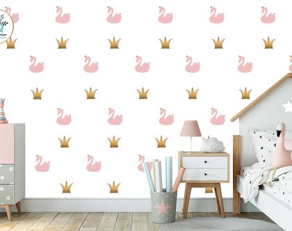 מדבקות קיר ברבורים וכתרים | מדבקות לחדרי ילדים | עיצוב חדרי ילדים | עיצוב קירות [CLONE]