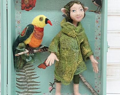 בובה שדון יער עם ציפור קסומה | בובה לאספנים | בובה לבד